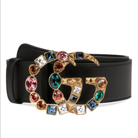Gucci Accessories - Gucci GG Marmont Crystal Buckle Leather belt